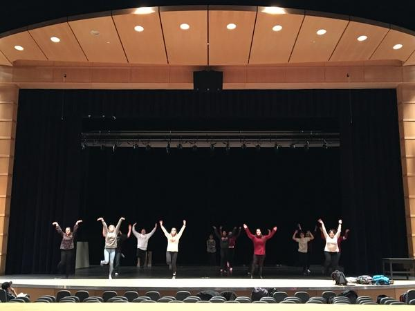 Drama club rehearses songs after school for