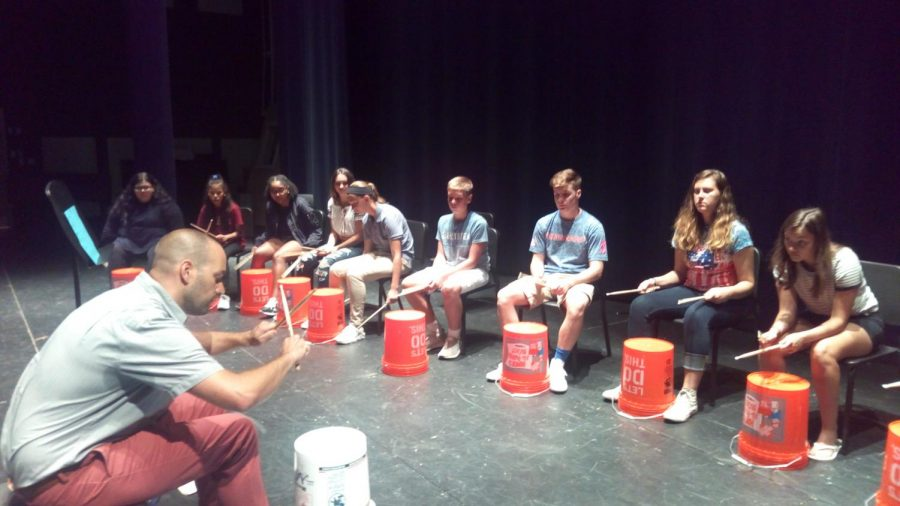 Mr. Holesovsky leads students in African Street Drumming class, a new elective offered this year.
