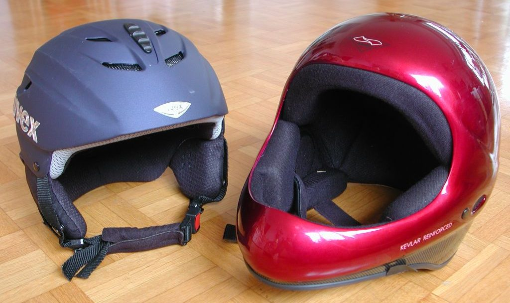 Some sports helmets- on left a ski helmet, on the right is a paraglider helmet.