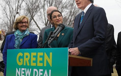 Representative Alexandria Ocasio-Cortez and Senator Edward Markey advocate for the Green New Deal.