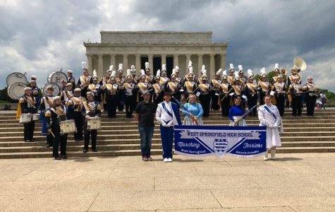 The WSHS band poses in front of the Lincoln Memorial during their field trip to Washington, DC in April.