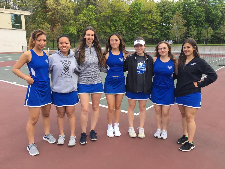 Seniors on the girls' tennis team on their senior night.