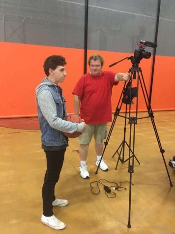 The team films scenes from the Jack Jonah documentary  at Agawam High School