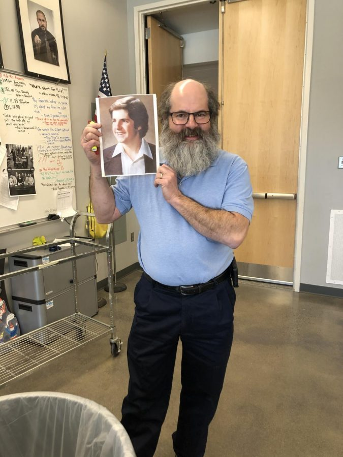 Mr. Bernard shows off his senior picture from WSHS class of 1982.