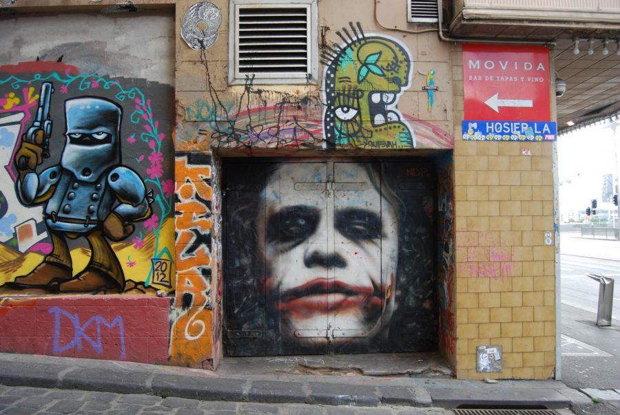 Street art of the Joker in Melbourne, Australia