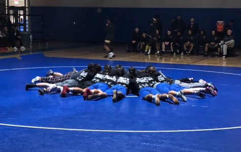 The WSHS wrestling team on the mat preparing for a battle against Springfield Central High School.