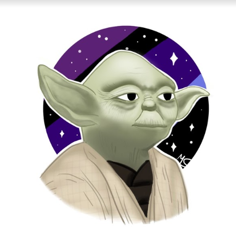 An illustration of Yoda, a main character in the series.