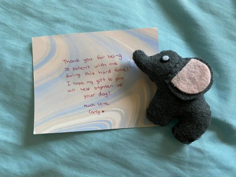 An elephant sewn by Carly Chambers accompanied by a thoughtful and uplifting message