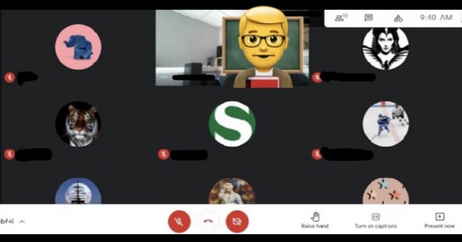 Screenshot of a morning class during remote learning. Most students chose to have their cameras off which adds a greater disconnect for both students and teachers.