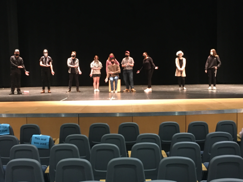 The cast of the West Springfield High School Drama Clubs production of the Curious Incident of the Dog in the Nighttime at rehearsal.