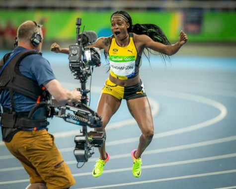 Jamaicas Elaine Thompson runs in the 2016 Olympics. : Photo via Wikimedia Commons under Creative Commons license.